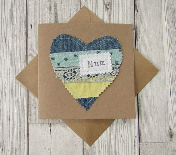 Denim Mothers Day Card, Denim Heart Greeting Card, Recycled Card, Denim Card for Mum, Fabric Love Heart Card
