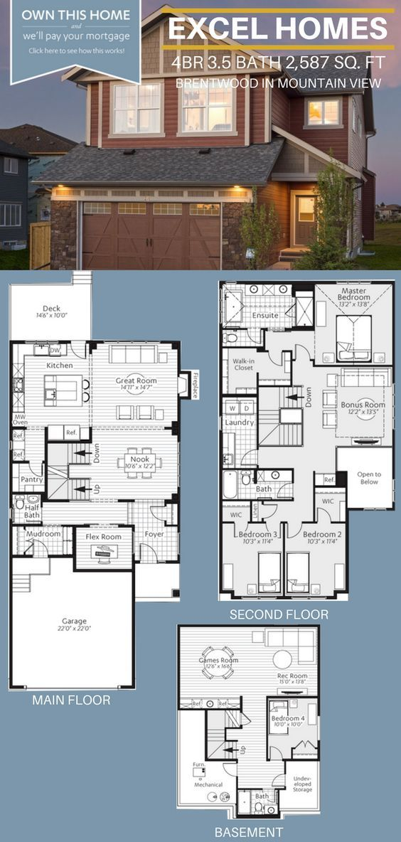 Three Story Floorplan 4 Bedroom 3 5 Bathoom Home House Ideas House Inspiration Brentwood By Excel Sims House Plans House Blueprints House Layout Plans