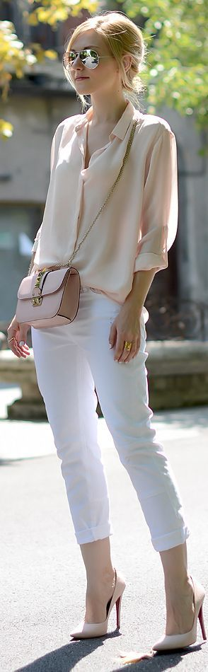Spring / Summer - street chic style - party style - light pink or nude chiffon shirt + nude messenger bag + white cropped skinnies + nude stilettos + aviators: