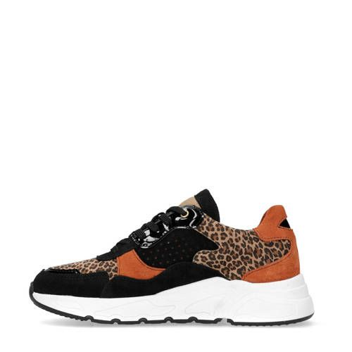 Leren dad sneakers zwart/bruin (met