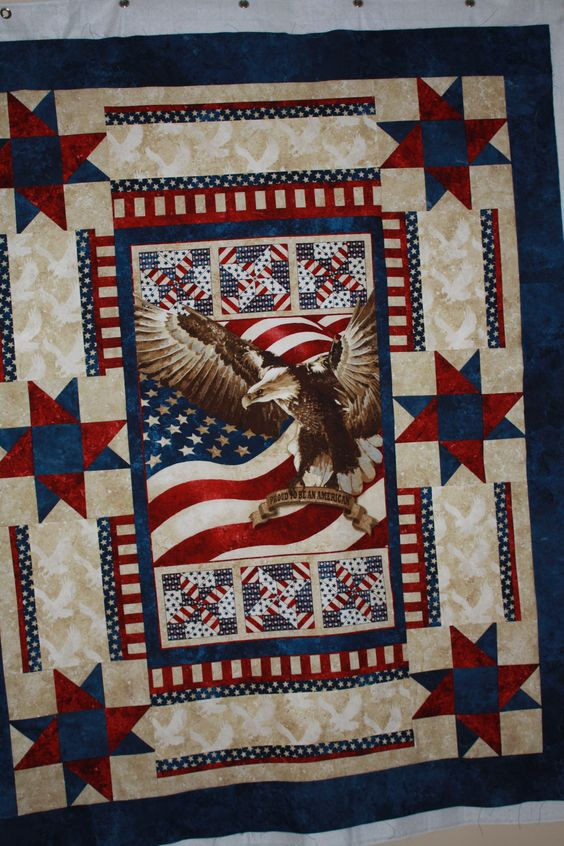 Patriotic Quilt Patterns For Free : Patriotic Quilt using Eagle Panel Marys Quilts Pinterest Quilt, Patriotic quilts and The o ...