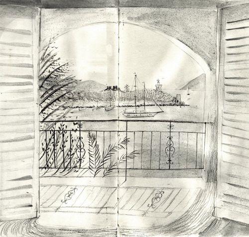 Alice Tait blog: 18.7.12 View of the harbour from my balcony, on my birthday. Fiscardo, Kafalona.