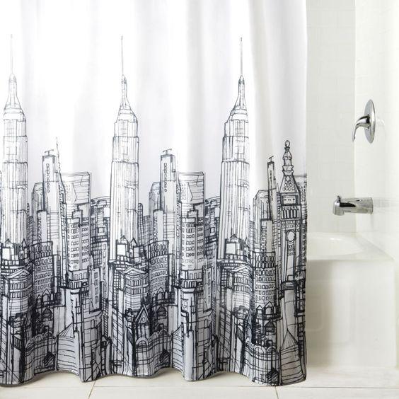 Curtains Ideas cityscape shower curtain : ShowerCurtain #Bathroom & rings, bath, city sketches shower ...