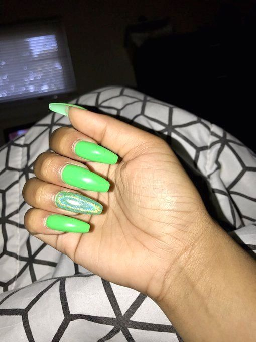 Long Lime Green Coffin Nails Green Acrylic Nails Green Nails Holographic Nails