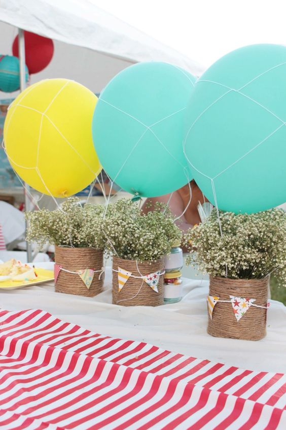 Diy Hot Air Balloon Centerpieces Made With Formula Cans Formula Can Crafts Baby Formula Cans Can Crafts