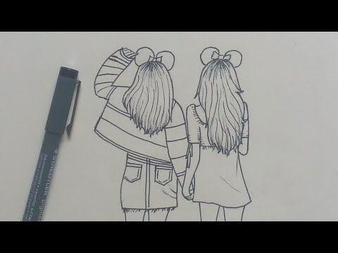 How To Draw Best Friends Bff Easy Step By Step How To Draw Best Friends Bff Easy Step By Ste In 2020 Skizzen Kunst Coole Bleistiftzeichnungen Zeichenvorlagen