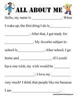 math worksheet : all about me worksheet  all about me all about me worksheet and  : Fill In The Blank Worksheets For Kindergarten