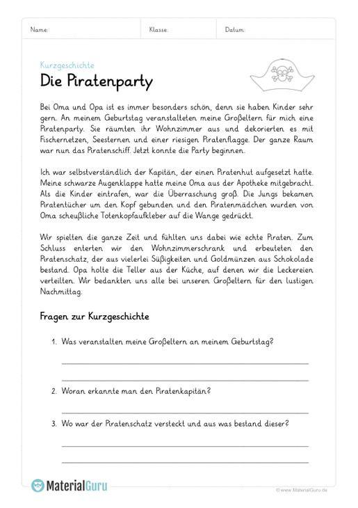 Kurzgeschichte Leseverständnis 4 Klasse Arbeitsblätter Pdf