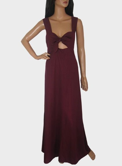 Vintage 1970s Long Maroon Red Maxi Dress With Cut-out Tie Detail available to buy online at Virtual Vintage Clothing £35