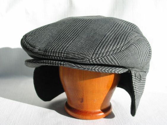 Glen Check Hat with Ear Flaps, Glen Urquhart Check Flat Cap, Men's Dressy Warm Glen Check Newsboy, T