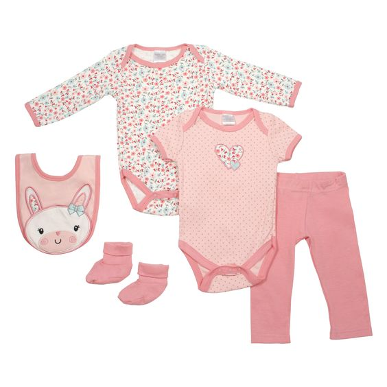 Baby Gear Baby-Girls 5 Piece Character LS Outfit Set Coral Floral Bunny 6-9 M. Organic Cotton soft to the touch. Snap closure on bodysuit for easy baby changings. Great gift for Baby Shower. Machine Wash Cold- Do not Iron or Bleach.