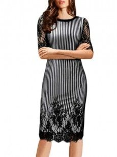 White-black Hollow Out Lace Patchwork Fascinating Round Neck Bodycon Dress