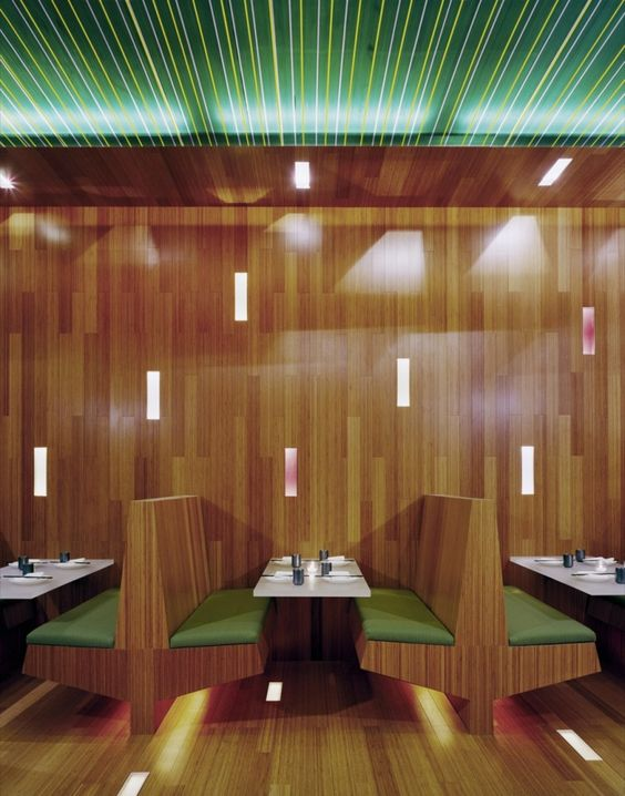 Xing Restaurant / LTL Architects. Love the lighting under the banquette seats