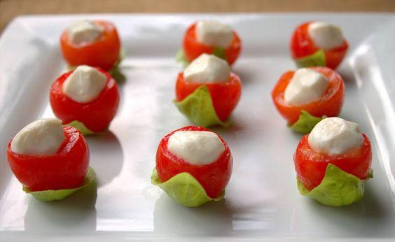 tomatinho, cream cheese , manjericão: