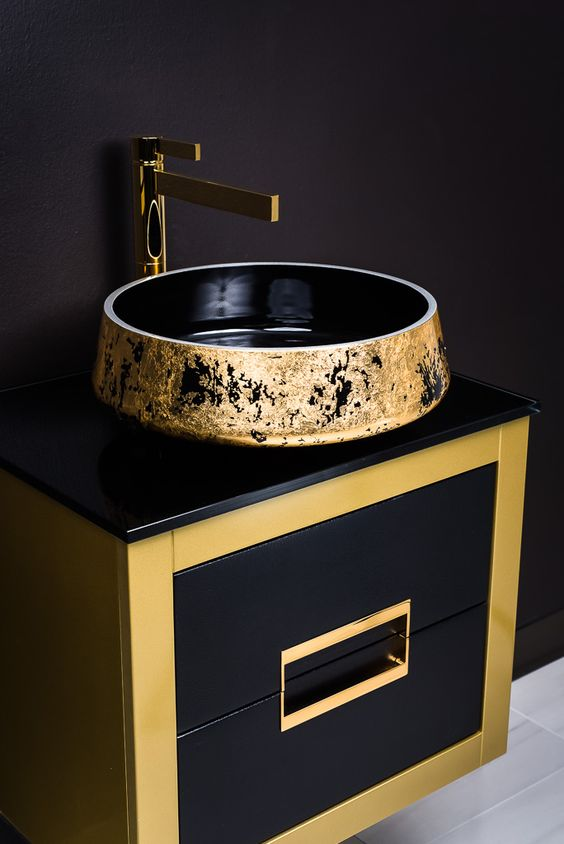 MaestroBath Proudly Presents Luxury Danya Gold Bathroom Vanity And Exte Lux  Bathroom Sink And Caso Polished