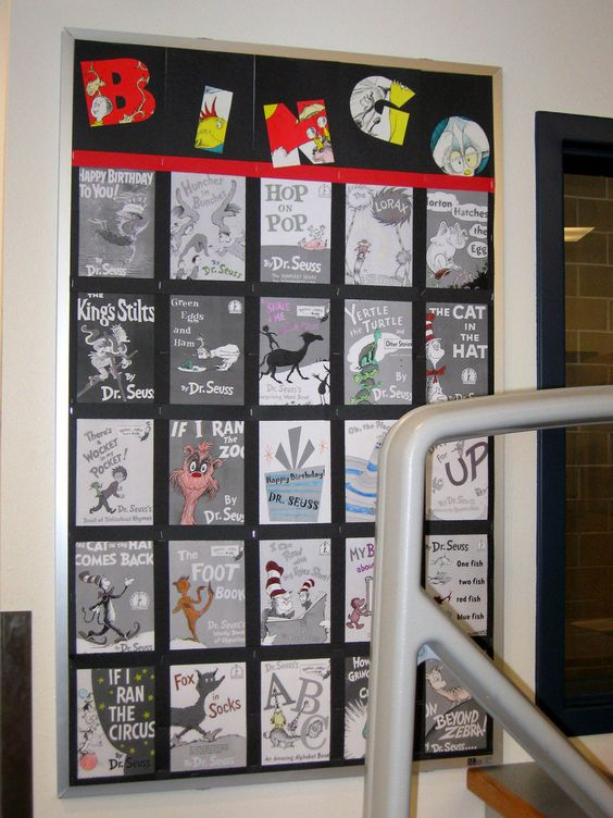 Dr. Seuss bulletin board idea. use this with a variety of books and give out prizes for a bingo?