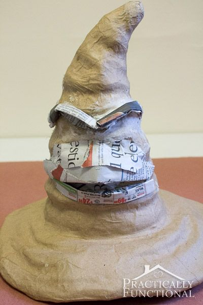 DIY Harry Potter Sorting Hat: Turn a plain paper mâché hat into a sorting hat with newspaper, modeling paste, and paint!