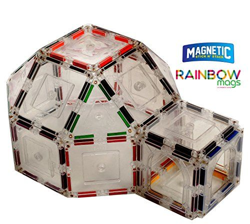Rainbow Mags 40 piece glass color Magnetic tiles with col...