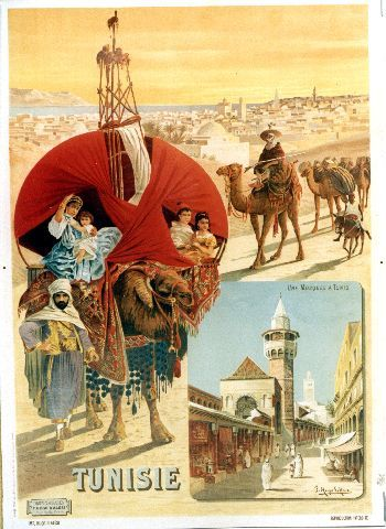Hugo d'Alesi - Tunisie - 1891 tourism vintage poster featuring traditional camel scene in Tunisia