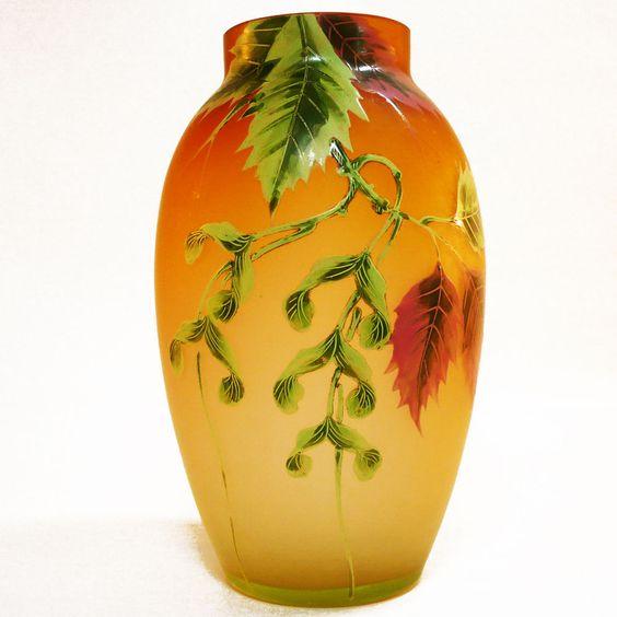 Uran Glas Vase • Böhmen, Frankreich ? um 1900 • handbemalt • signiert • french ?