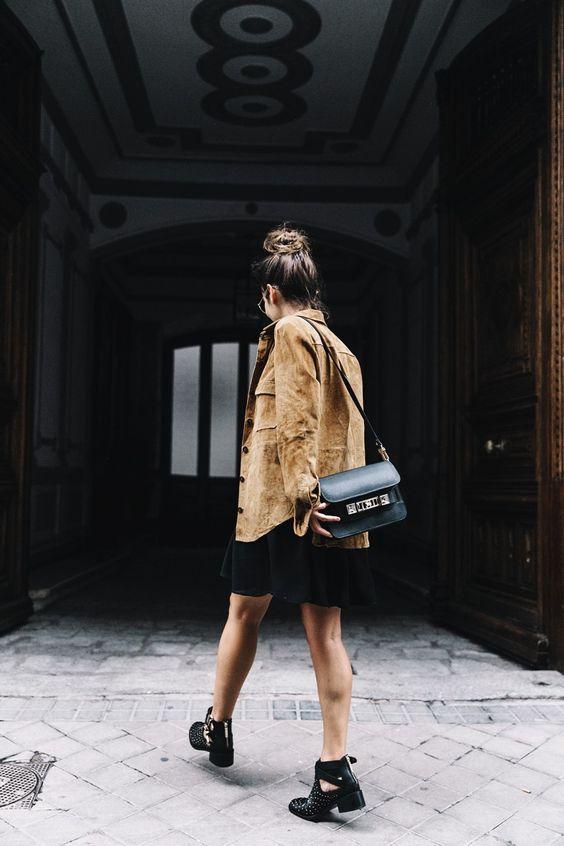 Camel_Suede_Shirt-Black_Dress-Studded_Booties-Collage_Vintage