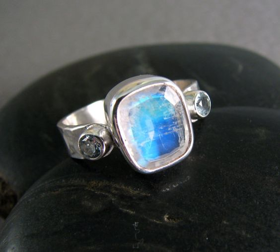 Rainbow Blue Moonstone Ring with Sky Blue by JessicaCoxJewelry