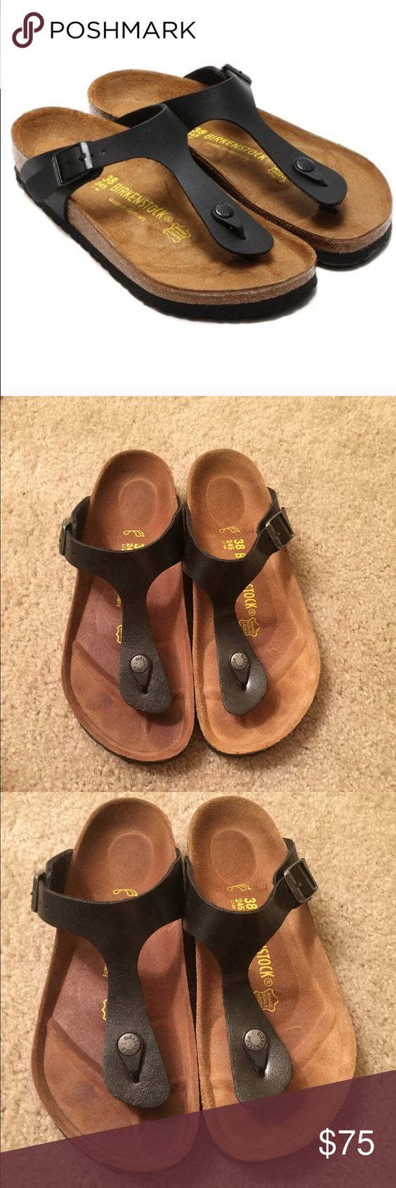 Birkenstock Gizeh size 38 The right shoe is a tad darker because it was a display shoe used to try on. Other than that, worn several times. Super comfortable! Birkenstock Shoes Sandals