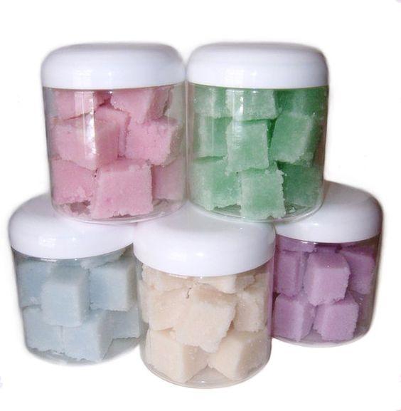 Sugar scrub cubes. Pink birthday cake $7.50  https://www.etsy.com/listing/152356586/moisturizing-sugar-scrub-cubes-choose