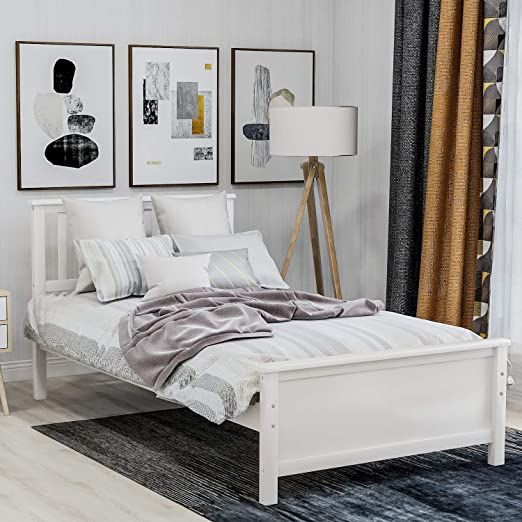 Articasa 14inch Deluxe Wood Platform Bed Twin Platform Bed Frame With Headboard Footboard A In 2020 Twin Platform