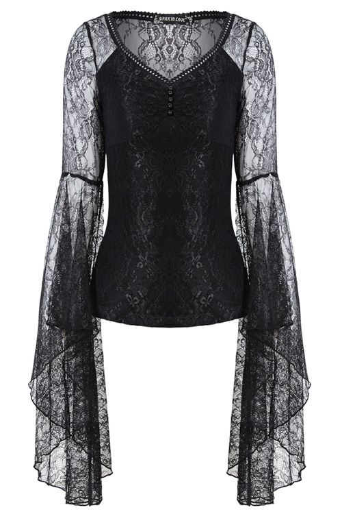 Dark In Love Womens Gothic Top Black Lace Cap Sleeve Lolita Steampunk Vintage