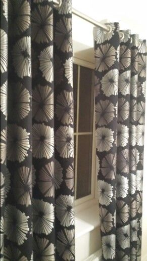 FOR SALE. Pre-owned black gold silver interlined eyelet curtains ...