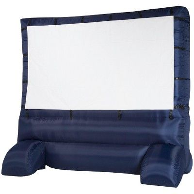 This would work better than projecting on to stucco: Airblown Inflatable Widescreen Deluxe Outdoor Movie Screen - 12'