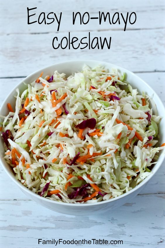 Easy no-mayo coleslaw - great on sandwiches, tacos or as a side! | FamilyFoodontheTable.com