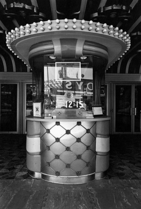 black and white photos of vintage movie theater box offices from the 1970s art deco box office loew