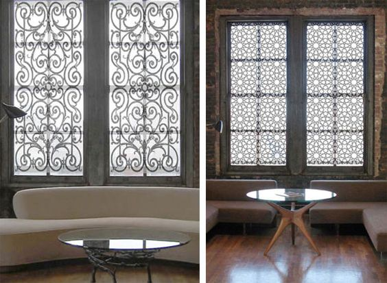 Need something light and interesting to soften the harsh light coming in your windows? The French Door Wrought Iron and the 12 Star Indian Jali shade prints from Delia Shades are just the ticket. These shades are fully customized to suit each window they are placed in, and they hit all the right style notes for me! Gorgeous.