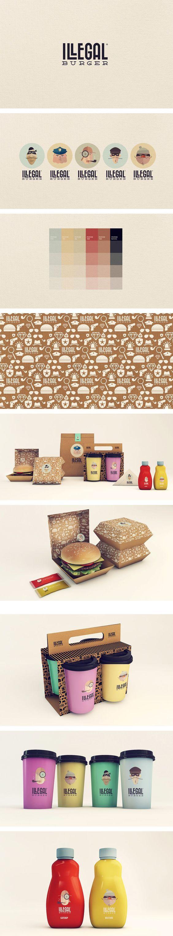 Illegal Burger - visual identity | Designer: Isabella Rodriguez/Sweety Branding Studio (variações do logo):