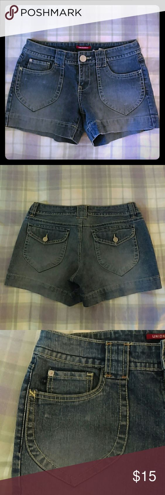 """Button Pocket Denim Shorts Fabulous little 2.5"""" shorts! The flaps on the back pockets give anyone a little extra booty! The fading detail on the front coin pocket is perfect. Great for us slim thick girls! UNIONBAY Shorts Jean Shorts"""