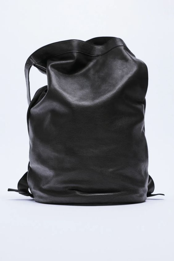 Leather backpack charlotte gainsbourg special collection Zara
