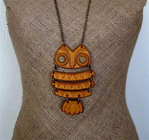 {leather owl pendant} fab retro styling!