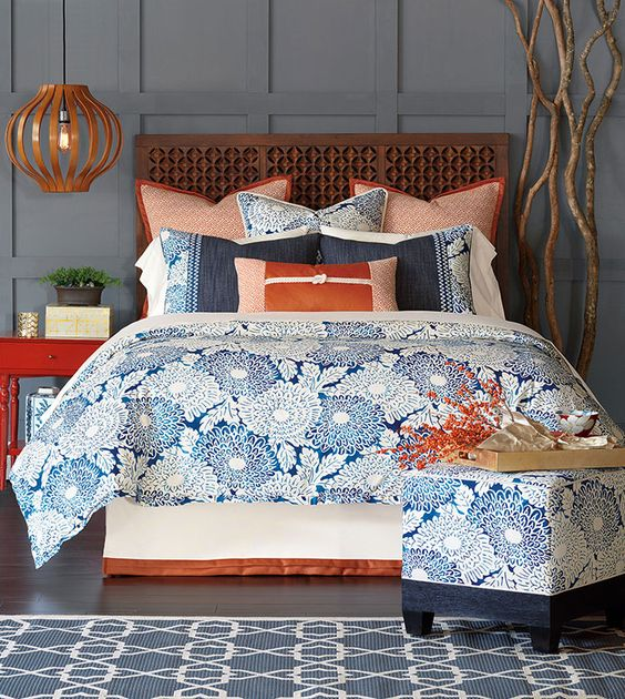 Indira Blue And Orange Bedding Blue Coastal Bedding Tropical