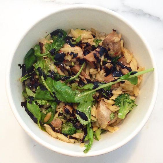 Salad: orzo, broccoli, arugula, mushrooms, sundried tomato, Asiago & balsamic cream $8