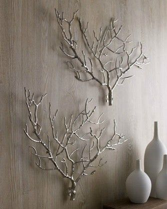 Tree branch wall art.  Spray with silver or white spray paint.: