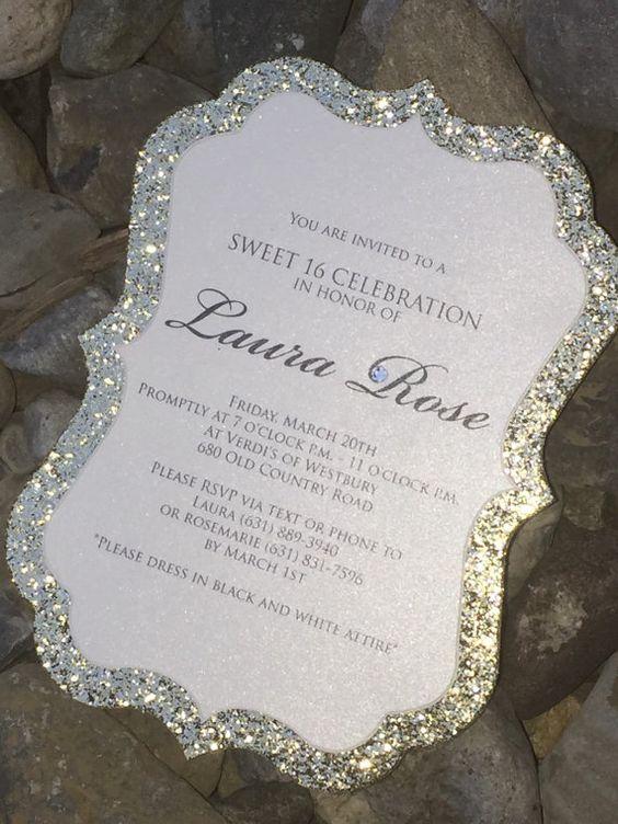 Sweet 16 Birthday Invitation, Sweet 16 Invitation, Quinceanera Invitation, 25 Glitter Birthday Invitations, Gold, Silver, Purple, Blue, Pink