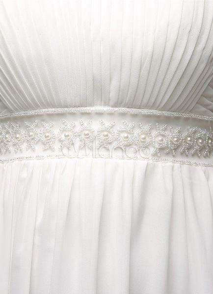 Vestido de casamento do Chiffon a linha Império cintura com cinto de pérolas - Milanoo.com