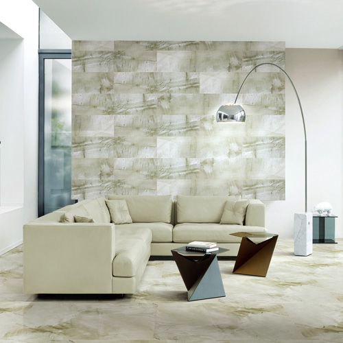 WELSH BLUE Sandstone Effect Porcelain Tiles Used For The Floor And Feature Wall Of This Lounge