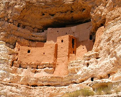 Montezuma Castle National Monument. This cave dwelling, attributed to the Sinagua people, seems to have been built in the 13th century, about the time the French were building Notre Dame Cathedral. But by 1425, the Sinagua had vanished, and scientists are still trying to sort that out. Near Camp Verde, AZ....North of Phoenix.