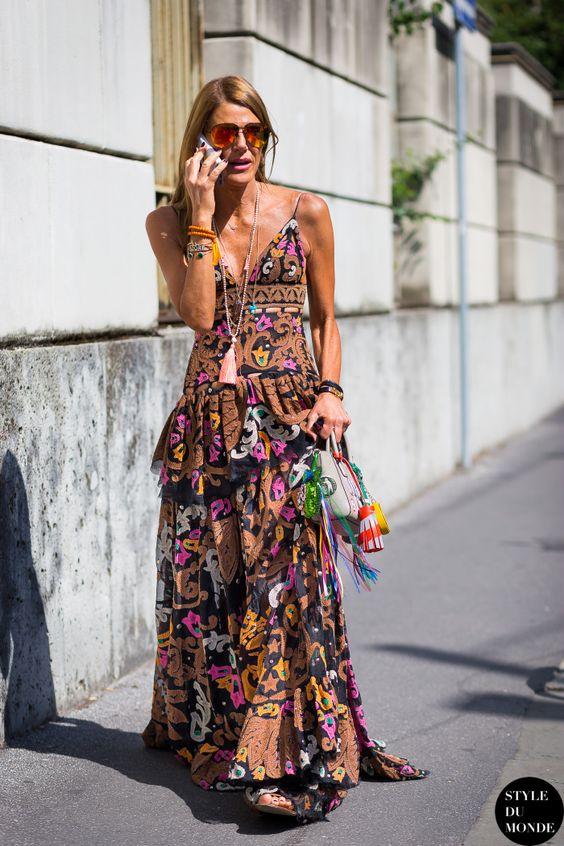 Anna Dello Russo wearing Emilio Pucci dress before N 21 fashion show.