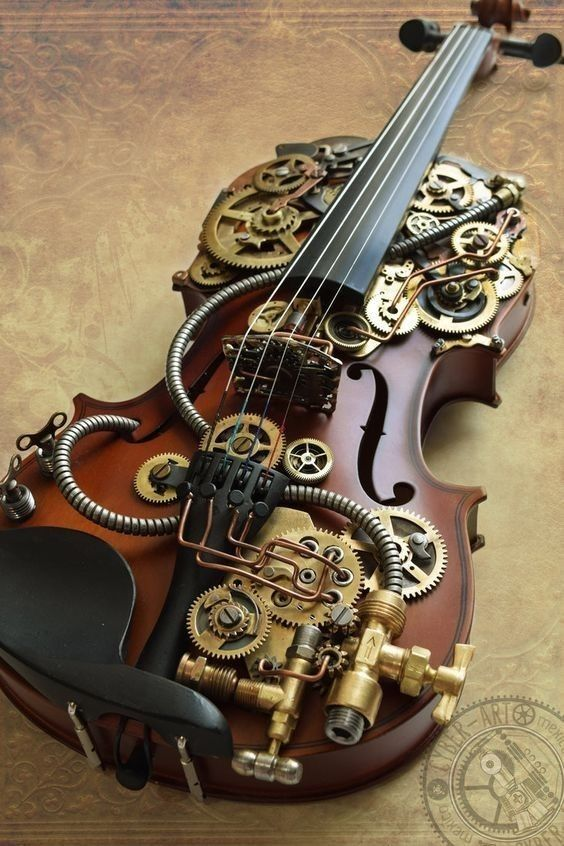Pin By Ryn C On Steam Punk And Girls Steampunk Guitar Violin Art Violin