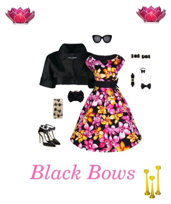 """""""Black Bows"""" by michelechambers ❤ liked on Polyvore featuring Dolce&Gabbana, Olgana, Franchi, Kate Spade, Casetify and Cultural Intrigue"""