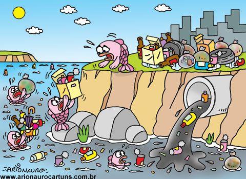 Blog Do Cartunista Arionauro Poluicao Da Agua Concurso De